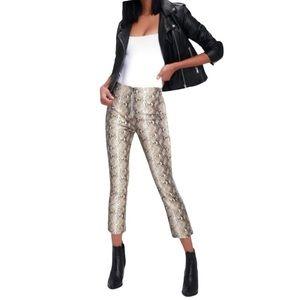 Theory Kick Crop Snake Print Leather Pants